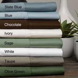 None - Egyptian Cotton Sateen 630 Thread Count Solid 4-piece Sheet Set - Add a classic touch to your bedding set with this Egyptian cotton and sateen sheet set. This four-piece set includes one flat sheet,one fitted sheet,and two pillowcases. With its sateen weave and 630-thread count,this product is soft and comfortable.