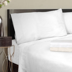 "Veratex - Grand Luxe Egyptian Cotton Solid Sateen 1200 Thread Count Deep Pocket Sheet Set - These ""Made in USA"" sheets are composed of highly luxurious 1200 thread count Egyptian cotton sateen. The pillowcases can be purchased as pairs as an option."