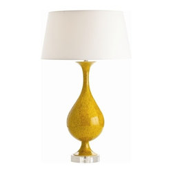 Arteriors - Arteriors Kaleigh Citron Reactive Ceramic Acrylic Lamp - Curvy ceramic vase lamp features citron reactive glaze finish on a clear acrylic base and topped with a white shade.