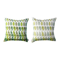 Kaypee Soh - ModPod Pillow - Lime Green - Colorful droplets shower this pillow creating a retro take on today's ombre style.