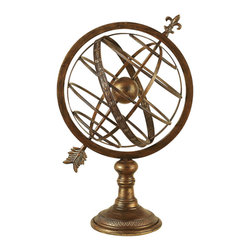 """ecWorld - Engraved 27""""H Metal Armillary Nautical Celestial Sphere Globe - The Armillary Nautical Sphere Globe will enhance the elegance of any room in your home. This engraved brass tabletop globe is an excellent decorative accessory."""