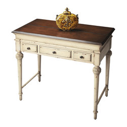 Butler Specialty Furniture - Artists' Originals Laptop Desk 2120115 - Elegantly tapered and Sheraton-inspired legs establish the antique motif for this lightly distressed desk that is small enough to fit into nooks and crannies but large enough to get the job done. It features a top that lifts open into a large work space, plus three convenient drawers. Crafted from hardwood solids, wood products and undulated cherry veneers in the Vanilla and Cherry finish. Only listed product included.