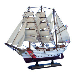 "Handcrafted Model Ships - USCG Eagle 15"" - Wooden Model Coast Guard Boat - Sold fully assembled."