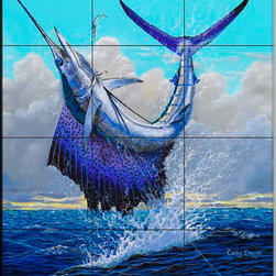 The Tile Mural Store (USA) - Tile Mural - Sailfish - Cc - Kitchen Backsplash Ideas - This beautiful artwork by Carey Chen has been digitally reproduced for tiles and depicts a hooked sailfish.  This tile mural featuring fish and sea life would be perfect as a part of your kitchen backsplash tile project or your tub and shower surround bathroom tile project. Images of tropical fish on tile make a fantastic kitchen backsplash idea and are great to use in the bathroom too for your shower tile project. Consider a tile mural of sealife and fish for any room in your home where you want to add wall tile with interest.