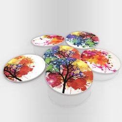"""Custom Photo Factory - Splashes of Paint Glass Coasters With Crystal Clarity. 6 Piece Set. - Made in the USA. Materials: Smooth tempered glass. Set includes:  (6) drink coasters. Dimensions:  3.94"""" x 3.94"""" x 3/16"""".  Image imprinted on the backside so the item on top of the coaster is never interacting with the print surface. The crystal clarity of our glass coasters delivers reliably uniform color reproductions. Crafters, artists and interior designers will find countless ways to use the features of these glass coasters. This will be the highest quality coasters you've even seen."""