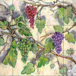 The Tile Mural Store (USA) - Tile Mural - Grape Bounty - Kitchen Backsplash Ideas - This beautiful artwork by Theresa Kasun has been digitally reproduced for tiles and depicts a grape vine with red, green and purple grapes.  Our kitchen tile murals are perfect to use as part of your kitchen backsplash tile project. Add interest to your kitchen backsplash wall with a decorative tile mural. If you are remodeling your kitchen or building a new home, install a tile mural above your stove top or install a tile mural above your sink. Adding a decorative tile mural to your backsplash is a wonderful idea and will liven up the space behind your cooktop or sink.