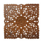 Kammika - Lotus Teak Wood Inlay Wall Panel - Our Lotus Panel Reclaimed Recycled Teak Wood Inlay Square 60 centimeter (Approximately 24 inch) Square in Eco Friendly Natural Water-based Brown Stain and Natural Wax Finish is a detailed carving of our Lotus theme. Several recycled rough-hewn reclaimed teak planks from old dwellings and community buildings are joined together and then carved as a single unit. To make hanging easier, the panel has two embedded flush mount Keyhole hangers. Each is carved out of old teak wood selected to match as close as possible in thickness and colorations. We use a natural eco friendly water based non toxic brown stain to darken the panels, and then lightly sand the carved surfaces to create light brown highlights; the natural reclaimed teak shows through. This elegant and unique piece is then rubbed in natural wax to seal the wood. Each piece is unique and variations in wood color are evident, although the carvers strive to make as close a match as possible before starting - still the colors will vary naturally just like the trees from which the wood came many years before varied. Although they do not perfectly match in thickness, the design is carved in such a way as to match closely from panel to panel. Hand crafted from reclaimed recycled teak wood, we make minimal use of electric hand sanders in the finishing process. All products are dried in solar or propane kilns. No chemicals are used in the process, ever. After each piece is carved, dried, sanded, and finished, they are packaged with cartons from recycled cardboard with no plastic or other fillers. The color and grain of your piece of Nature will be unique, and may include small checks or cracks that occur when the wood is dried. Sizes are approximate. Products could have visible marks from tools used, patches from small repairs, knot holes, natural inclusions or holes. There may be various separations or cracks on your piece when it arrives. There may be some slight variation