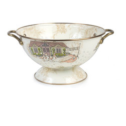 Aurora Enamel Colander - Large | MacKenzie-Childs - Step into the kitchen for an escape to our idyllic Finger Lakes farm. Beautiful and built to last, Aurora enamelware features a rich tapestry of hand-applied decals depicting our scenery against an English floral backdrop, all on heavy-gauge steel. Sturdy handles are finished in lovely antiqued brass. Use the large size for vegetables, and the small size for fresh berries—or leave them out on the counter to hold farmers' market finds.Aurora Enamelware is gorgeous all around. Try the 360-degree image viewer below to spin this item around and see it from all sides!