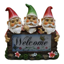 Alpine Fountains - Solar Gnomes w Welcome Sign Garden Statue - Made of Polyresin and Plastic. 1 Year Limited Warranty. Assembly Required. Overall Dimensions: 6 in. L x 4 in. W x 8 in. H (2.21 lbs)Welcome your friends and family with this playful statuary.  It is sure to create a warm welcoming feeling for your guests.  These solar statues boast a whimsical design and long lasting, solar powered LED light.