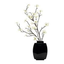 "Silver Nest - Dogwood Branch Plant- 37""h - Cream Dogwood Branch Plant in Black Ceramic Vase"