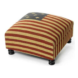 Patriot Bench/Ottoman - This patriotic American flag Ottoman is a perfect item presented by our vintage accent furniture collection. It sits on wood and Kilim legs, stuffed with vibrant cushion for better comfort provided with upholster support.