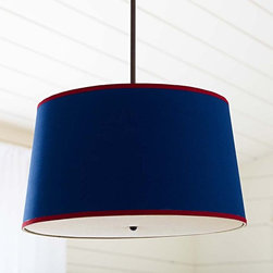 Navy/Red Drum Flush Mount Light - This nautical-inspired navy and red drum lampshade would be perfect in a beach home or a boys' bedroom.