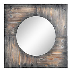 "Cooper Classics - Country - Cottage Cooper Classics Laurent 31 1/2"" Square Wall Mirror - Add some rustic style to your home with the Laurent square wall mirror from Cooper Classic. Rustic white wash finish has a great aged patina. Frame has four sections that surround the inner circle of mirrored glass. Great piece to add texture to coastal contemporary or transitional decor. Rustic white wash finish. Round inner mirror. Four section frame design. 31 1/2"" wide. 31 1/2"" wide. 2"" deep. Hang weight 16 lbs.  Rustic white wash wood finish.  Round inner mirror.  Four section frame design.  31 1/2"" wide.  31 1/2"" wide.  2"" deep.  Hang weight 16 lbs."