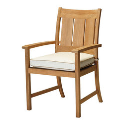 """Frontgate - Croquet Outdoor Teak Dining Arm Chair with Cushion, Patio Furniture - French Linen, Mahogany or Weathered finishes offer the appearance of fine wood. Generously proportioned durable aluminum frames accommodate plush outdoor cushions. Included Dream cushion's high density foam fill is crowned with a """"pillowtop"""" of blown fiber. Cushions feature exclusive solution-dyed fabrics, created using only the finest materials and technology for longevity outdoors, including Sunbrella&reg. Slatted aluminum seat backs and tabletops. The Croquet Collection by Summer Classics&reg is the perfect embodiment of the lawn game made popular by 19th century European gentry. Frames are hand-welded in durable aluminum and finished to resemble fine wood. Luxurious Dream cushions enhance the experience of relaxing in this generously proportioned, all-weather furniture. . . . . . Dining tables include umbrella hole (table assembly required). Spring lounge features a smooth rocking motion. Double Spring Lounge has two independent rocking seats. Chaise adjusts to five positions. Note: Due to the custom-made nature of the cushions, any fabric changes made to the Croquet Collection must be made within 48 hours of ordering."""