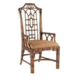 Lexington - Tommy Bahama Home Royal Kahala Pacific Rim Arm Chair - Pan-Asian influenced bent rattan, with leather binding, in a golden tortoise shell finish. The upholstered seat is Coral Seas, a ginger color woven. Additional fabrics may be applied, see store for details.