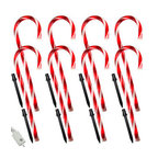 8 Candy Cane Path Markers - Line your pathway, driveway, or lawn this holiday season with candy cane pathmarkers! Each of these 8 classic red and white striped candy canes are 24 inches high and come with a stake for easy ground mounting. The candy canes are pre-lit with 80 incandescent bulbs and connect over 26.5 feet of white wire. The string has a 5-foot lead, making it convenient to reach an outlet and comes with an 8-function controller to create combination, in wave, sequential, slo-glo, in wave/twinkle flashing, slow fade, twinkle flashing, and steady on lighting patterns. Bring the magic of the holidays to your home with these charming Christmas decorations.
