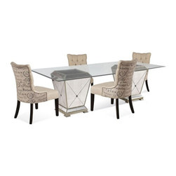 Bassett Mirror - Borghese Casual Dining Set - 8311-000-AAB - Set Inclucdes 1 Table and 4 Chairs
