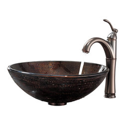 Kraus - Kraus Copper Illusion Glass Vessel Sink and Riviera Faucet Oil Rubbed Bronze - *Add a touch of elegance to your bathroom with a glass sink combo from Kraus