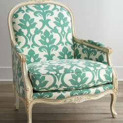 """Massoud - Massoud """"Angelina"""" Chair - A classic frame takes on new appeal with the addition of oversized vine-and-foliage motif upholstery. We think the floral carvings on the frame are just the right complementary touch, and the nailhead trim adds just the right amount of definition. Beec..."""