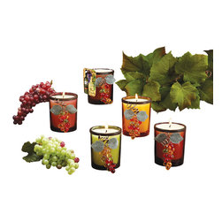 Deco Glow - Grapes and Grapevine Glass Candles, Assorted (Set of  12) - Attractive  votive  candles  with  grape  and  grapevine  accents.  You'll  receive  a  matched  set  of  12  votive  candles  in   assorted  colors.