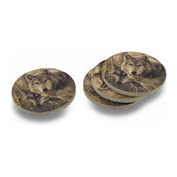 Zeckos - 4 Thirstystone Woodland Companions Alaska Coasters - Thirstystone Sandstone Coasters are among the finest in the world, due to their incredible absorbing ability. The unusual nature of the porous sandstone literally absorbs messy drips from beverages without leaking onto furniture. They also do not lose their ability to absorb over time, and feature lead-free, Earth-friendly inks that last for years and years This set of 4 Thirstystone coasters features the `Woodland Companions Alaskan` wolves design. The coasters are 4 inches in diameter, backed with cork to prevent marking your furniture, and add a beautiful accent to living rooms, dining rooms, kitchens, even bedrooms. They are made in the USA and are a truly `green` product. We have a limited number of these, so don`t miss out