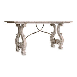 Italian Lyre Base Dining Table With Metal Detail - Seat an elegant dinner party around this neo-Classical rectangular dining table.  A distressed off-white finish and simple beveled top balance the baroque detail of the legs, which are shaped into Grecian lyres carved with a multitude of whorls and scrolls.  The final detail that completes this unusual dining-room table is a pair of slender iron rods, embellished by round details, which begin where the lyre legs meet and arch across the width of the table, crossing over one another at the piece's center.  This is an unforgettably timeless piece of furniture!