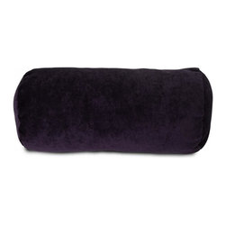 Majestic Home Goods - Villa Round Bolster, Aubergine - Add a splash of color and a little texture to any room with these plush pillows by Majestic Home Goods. The Majestic Home Goods Villa round bolster pillow will instantly lend a comfortable look to your living room, family room or bedroom. Whether you are using them as decor throw pillows or simply for support, Majestic Home Goods round bolster Pillows are the perfect addition to your home. These throw pillows are woven from 100% polyester Micro-velvet and filled with Super Loft recycled polyester fiber fill for a comfortable but durable look. Spot clean only.