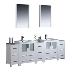 "Fresca - Fresca Torino 84"" Modern Double Sink Bathroom Vanity w/ Three Side Cabinets & Tw - Fresca is pleased to usher in a new age of customization with the introduction of its Torino line. The frosted glass panels of the doors balance out the sleek and modern lines of Torino, making it fit perfectly in either Town or Country dcor."