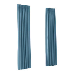Teal Blue Cotton Twill Custom Euro Pleat Drape Single Panel - Luxury meets functionality, tradition meets modernity in the Euro Pleated Drapery. Top-gathered pleats create a waterfall effect for an updated take on the classic pleat that's perfect for classic and modern rooms alike.  We love it in this