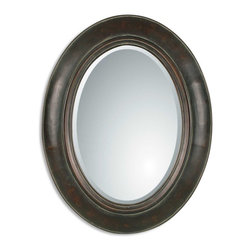 """Grace Feyock - Grace Feyock Tivona Oval Traditional Mirror X-B 11070 - This Handsome Oval Mirror Features A Distressed Dark Chestnut Finish Over A Genuine Copper Panel With A Light Verdigris Glaze. Mirror Features A Generous 1 1/4"""" Bevel. Matching Console Table Is Item #26051."""