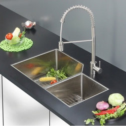 Ruvati - Ruvati RVC2357 Stainless Steel Kitchen Sink and Stainless Steel Faucet Set - Ruvati sink and faucet combos are designed with you in mind. We have packaged one of our premium 16 gauge stainless steel sinks with one of our luxury faucets to give you the perfect combination of form and function.