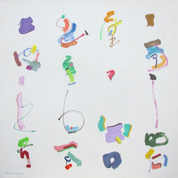 """Mineko Yoshida - Abstract Painting """"Joie De Vivre No.4"""" By Mineko Yoshida - Abstract oil painting on acrylic ground by Japanese-born, American-educated artist Mineko Yoshida.  24""""x24""""1.5""""  Unframed. Ready to hang.  Influenced by Japanese calligraphy and American Abstract Expressionism."""