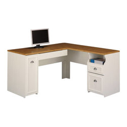 Bush - Bush Fairview L-Shape Wood Computer Desk in Antique White - Bush - Computer Desks - WC5323003K - The Bush Fairview L Shaped Computer Desk is a gorgeous addition to any home or corporate office. It provides plenty of work space with convenient box storage and storage drawers. It also features a retractable keyboard and mouse tray for the easy usage of a desktop computer. You'll fall in love with this desk.