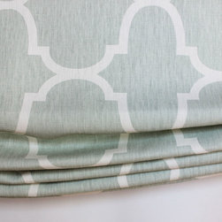 Custom Window Treatments by Lynn Chalk - Custom Casual Roman Shade in Windsor Smith Riad in Seafoam by Lynn Chalk