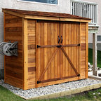 Best Picture of the Year 2012 - No need to fight your way to the back of the shed with our 8x4 Double-Door SpaceSaver.  Everything is easily accessible in this functional and attractive lean-to style shed.  It's perfect against a fence or up tight  to the house!