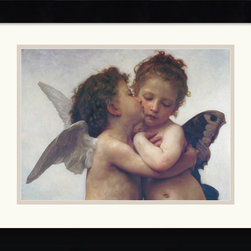 Amanti Art - The First Kiss (Detail, Wide) Framed Print by William-Adolphe Bouguereau - For the ultimate in cherub charm, hang Adolphe-William Bouguereau's iconic painting in your home. This beautifully framed reproduction will forever represent love in its purest form.
