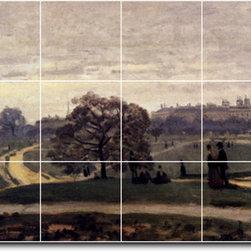Picture-Tiles, LLC - Hyde Park London 1871 Tile Mural By Claude Monet - * MURAL SIZE: 24x48 inch tile mural using (18) 8x8 ceramic tiles-satin finish.