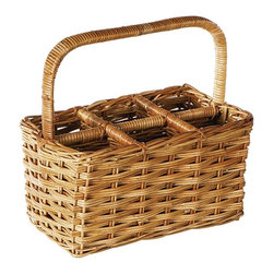 Eco Displayware - 6-Bottle Wine Rattan Basket in Natural - Capacity: 6 bottles. Great for closet, bath, pantry, office or toy and game storage. Earth friendly. 16.5 in. L x 10 in. W x 16 in. H (9.6 lbs.)These natural colored baskets add warmth and charm and keep you organized.