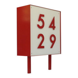 Square Metal Address Sign - These numbers would be a great addition for a contemporary house. I love that they come in multiple colors and are made of recycled materials.