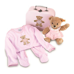 Steiff - Steiff Baby Sleep Well Teddy Bear and Outfit Set in Suitcase - Steiff Sleep Well Teddy Bear Set in Suitcase includes a teddy bear made of plush for baby-soft skin. The teddy bear is machine washable. Steiff Sleep Well Teddy Bear Set in Suitcase includes a pink outfit made of 100% cotton.