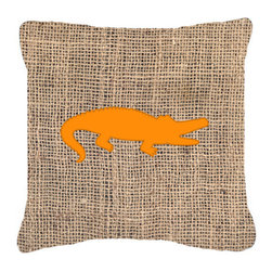 Caroline's Treasures - Alligator Burlap and Orange Fabric Decorative Pillow Bb1120 - Indoor or Outdoor pillow made of a heavy weight canvas. Has the feel of Sunbrella fabric. 14 inch x 14 inch 100% Polyester Fabric pillow Sham with pillow form. This pillow is made from our new canvas type fabric can be used Indoor or outdoor. Fade resistant, stain resistant and Machine washable.