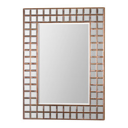 """Uttermost - Keely Oxidized Copper Sheeting Rectangular Mirror - Numerous, Small, Beveled Mirrors Inlaid Into A Wood Frame Covered In Oxidized, Copper Sheeting Accent Center Mirror Which Has A Generous 1 1/4"""" Bevel. May Be Hung Horizontal Or Vertical. Frame Dimensions: 35.375""""W X 47""""H X 1.5""""D; Mirror Dimensions: 23.75""""W X35.5""""H; Finish: Oxidized Copper Sheeting; Material: MDFYes; Beveled: ; Shape: Rectangular; Weight: 55; Included: Brackets, Ready to Hang Vertically or Horizontally"""