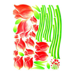 Blancho Bedding - Gentle Tulips - Wall Decals Stickers Appliques Home Decor - The decals are made of a high quality, waterproof, and durable vinyl and will stick to any smooth surface such as walls, doors, glass, cabinets, appliances, etc. You can add your own unique style in minutes! This decal is a perfect gift for friend or family who enjoy decorating their homes. Imaginative art for you and won't damage your walls! Without much effort and cost you can decorate and style your home. Quick and easy to apply~!!!