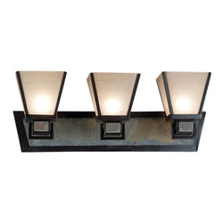 Kenroy - Kenroy 91603ORB Clean Slate Transitional Bathroom Light - This Mission styled family offers a fresh and uncluttered look.  A warm Oil Rubbed Bronze finish is offset against cool natural slate while metal trim shades cast a warm glow.  *Sconce and Vanities Can Mount Up or Down
