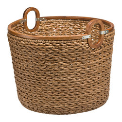 Baskets & Organizers - Made from handwoven seagrass and wood this storage basket can be used for keeping logs next to the fire place, to stow away toys, throws, pillows, books and more.