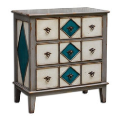 Uttermost - Kinzley - 34 Accent Chest Mahogany/Dark Gray/Ocean Blue/Antique White Finish - Impeccably constructed in mahogany with dovetail drawers in combination of dark gray, ocean blue, and antique white.