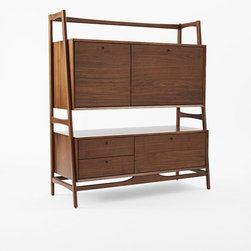 """Midcentury Secretary, Acorn - I like how this secretary desk blends in well and doesn't scream """"office"""" or """"desk."""" It has lots of great storage too."""