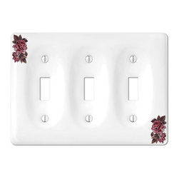 Jackson Deerfield Manufacturing - Victorian Rose Porcelain 3 Toggle Switchplate (JDM983VR) - Victorian Rose Porcelain 3 Toggle Switchplate