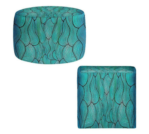DiaNoche Designs - Ottoman Foot Stool - Sea Waves Pattern - Lightweight, artistic, bean bag style Ottomans. You now have a unique place to rest your legs or tush after a long day, on this firm, artistic furtniture!  Artist print on all sides. Dye Sublimation printing adheres the ink to the material for long life and durability.  Machine Washable on cold.  Product may vary slightly from image.