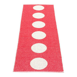 Pappelina - Pappelina Vera Plastic Runner, Red - This  rug from Pappelina, Sweden, uses PVC-plastic and polyester-warp to give it ultimate durability and clean-ability. Great for decks, bathrooms, kitchens and kid's rooms. Turn the rug over and the colors will be reversed!
